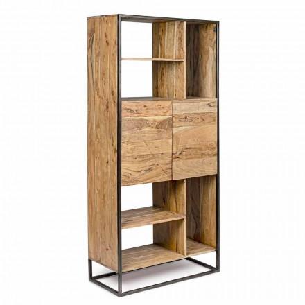 Homemotion - Goliath-boekenkast in acaciahout en geverfd staal