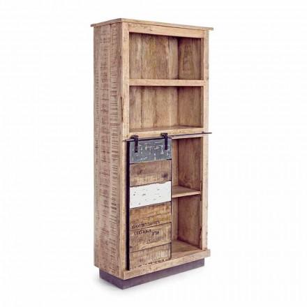 Homemotion boekenkast in mangohout met stalen inzetstukken - Vidia