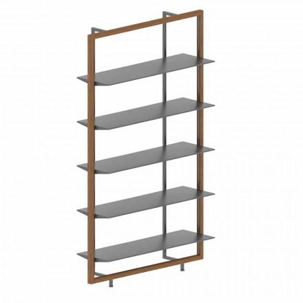Vloerboekenkast in metaal, aluminium en hout Made in Italy - Bonaldo Aliante