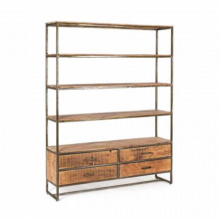 Boekenrek in industriële stijl in staal en hout Homemotion - Zompo