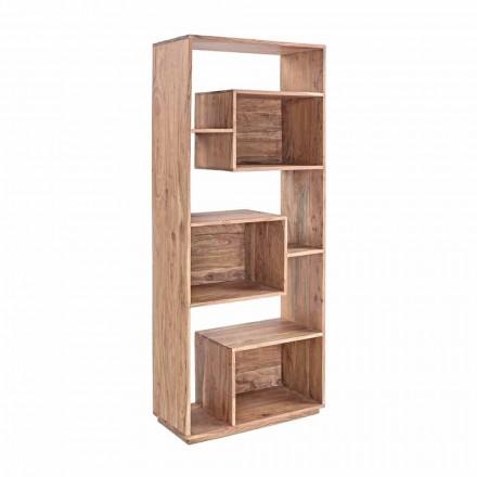 Homemotion boekenkast in moderne vloer met structuur van acaciahout - Genza