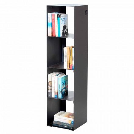Moderne vloer boekenkast in zwart, rood, wit, grijs ijzer gemaakt in Italië - Cauro