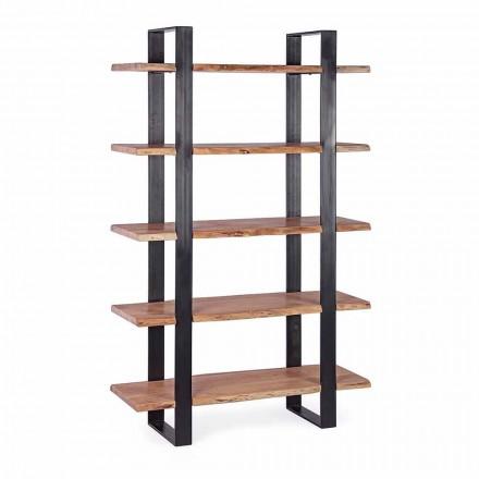 Homemotion Moderne boekenkast met stalen vloer en houten planken - Lanza