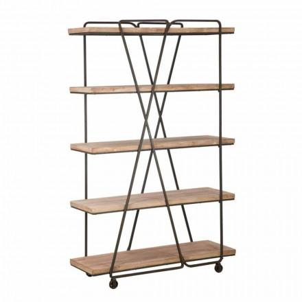 Industriële stijl vloer boekenkast in hout en ijzer - Soline