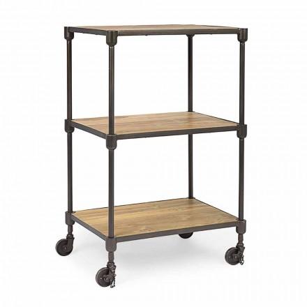 Boekenkast in geverfd staal met wielen en planken in teak Homemotion - Fulvia