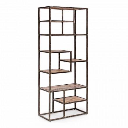 Homemotion boekenkast in geverfd staal en hout in industriële stijl - Zompo