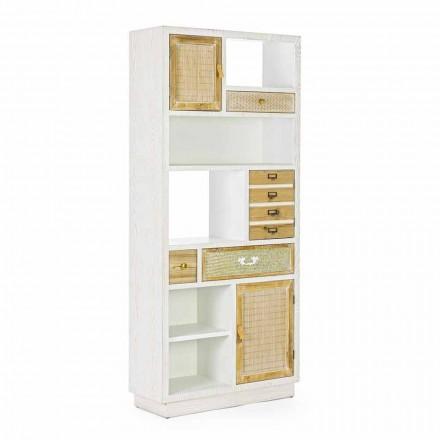 Boekenkast in rustieke stijl met Mdf Homemotion-structuur - Moiora