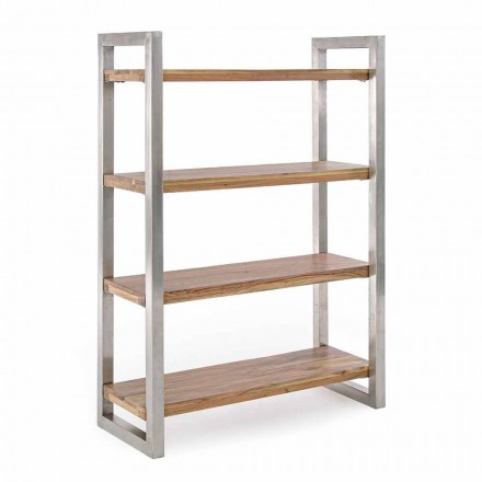 Moderne boekenkast met structuur in verchroomd staal en hout Homemotion - Lisotta