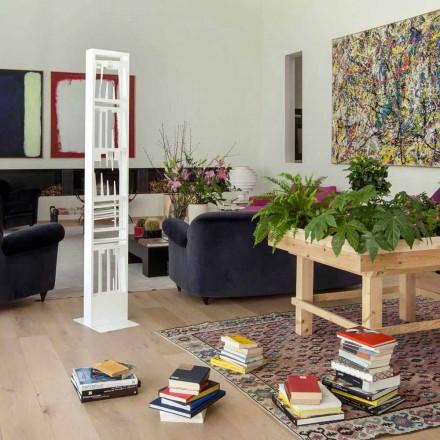 Boekenkast van moderne vloer met planken van wit metaal Made in Italy - Bolivia