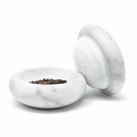 Pepermolen in wit satijn Carrara marmer modern gemaakt in Italië - Faron