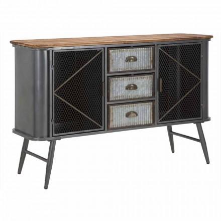 Vintage industrieel design woonkamer dressoir in ijzer en hout - Akimi