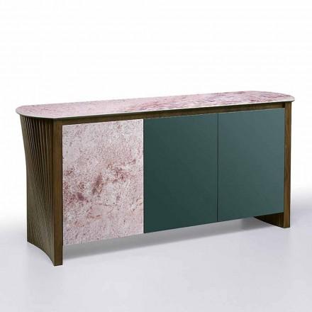Luxe dressoir in Gres met structuur in hout en Mdf Made in Italy - Cunea