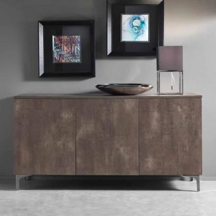 Moderne kast, drie deuren melamine hout brons of grijs Made in Italy - Clemente