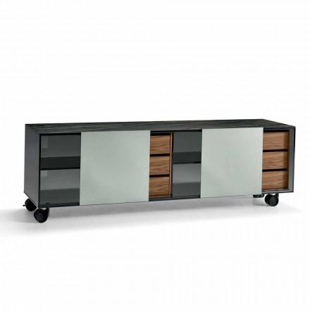 Modern dressoir op wielen in rookglas en keramische top gemaakt in Italië - Scocca
