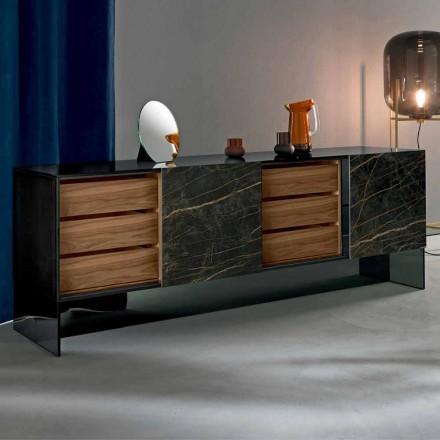 Woonkamer dressoir met 2 deuren in keramiek en rookglas structuur Made in Italy - Scocca