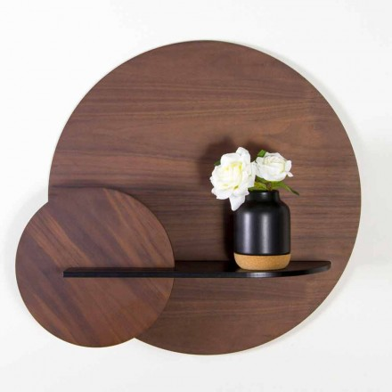 Modulaire moderne plank in walnoot en zwart geverfd multiplex - Amena
