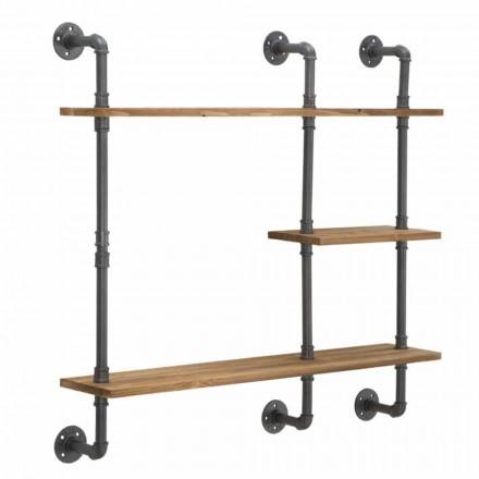 Moderne design wandplanken in industriële stijl in ijzer en hout - Katrine