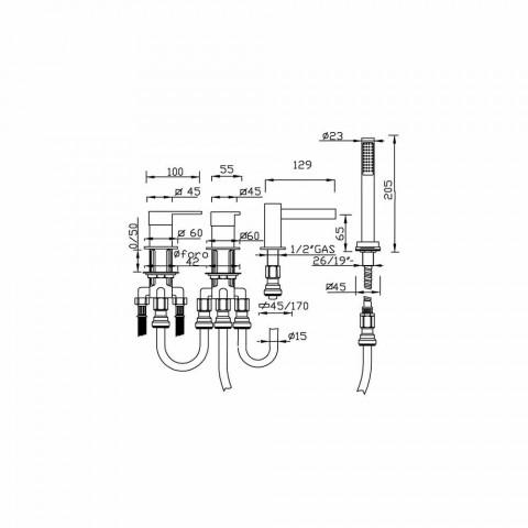 4-gats badmengkraan met watervaluitloop Made in Italy - Panela
