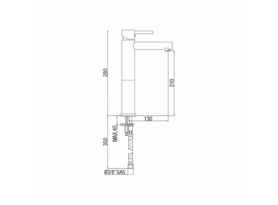 Badkamer wastafelmengkraan in verchroomd messing zonder afvoer Made in Italy - Ermia