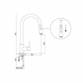 Aanrechtmengkraan met verstelbare slang en handdouche Made in Italy - Cormo