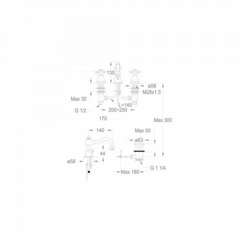 3-gats wastafelmengkraan 130 mm hoog in messing Made in Italy - Binsu