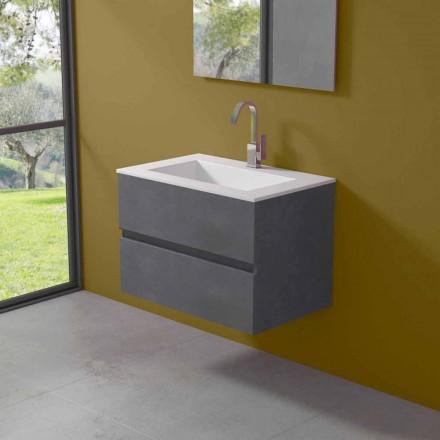 Hangkast voor badkamer met geïntegreerde wastafel in 3 afmetingen - Marione