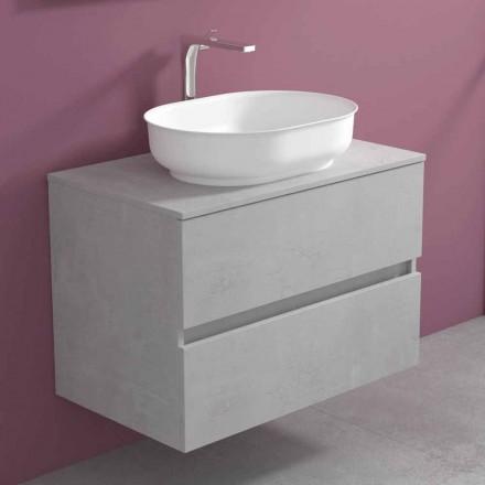 Hangend badkamermeubel met ovale wastafel, modern design - Cesiro