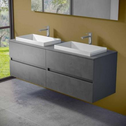 Hangend badkamermeubel met dubbele ingebouwde wastafel, modern design - Dumbo
