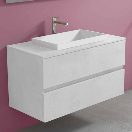 Hangend badkamermeubel met ingebouwde wastafel, modern design - Casimira