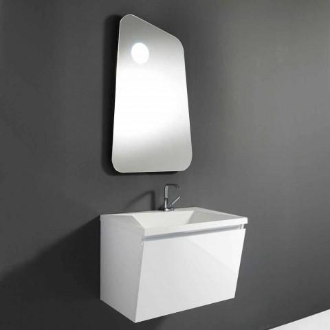 Badkamermeubel met wastafel en spiegel, modern design in wit hout en hars - Fausta