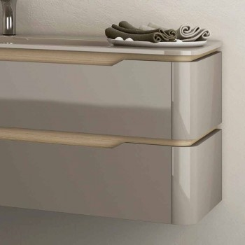 Badkamermeubel met geïntegreerde design houten spoelbak Arya, gemaakt in Italië