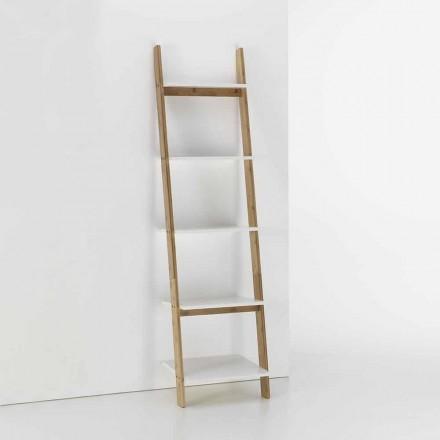 Vloer geneigd badkamermeubel met 5 planken in bamboe en Mdf - Gianmarco