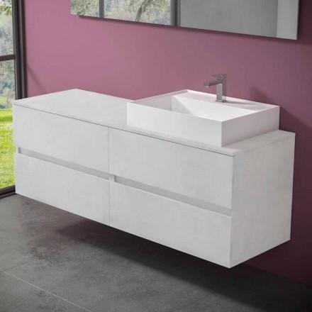 Hangende badkamermeubel met wastafel in designhars - Alchimeo