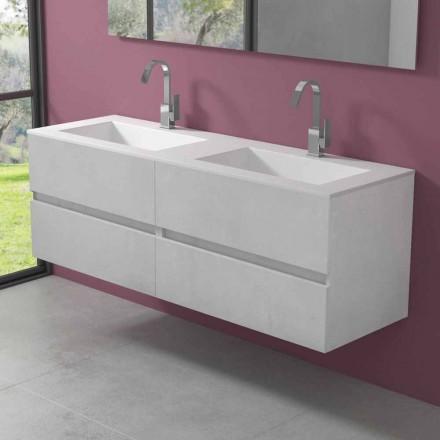 Hangend badkamermeubel met dubbele wastafel, modern design in 4 afwerkingen - Doublet