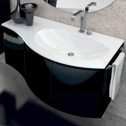 Moderne badkamermeubel met driedeurs wastafel in Gioia zwart gelakt hout