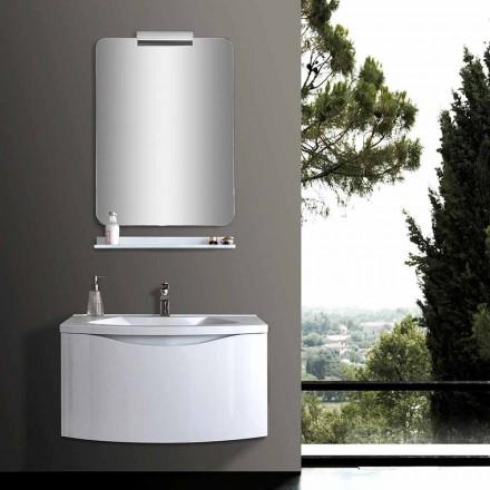 Witte moderne hangende badkamerkast met gootsteen, plank, led-spiegel - Michele
