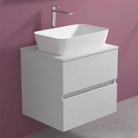 Hangend badkamermeubel met rechthoekige wastafel, modern design - Dumbo