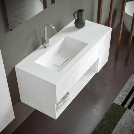 Hangend badkamermeubel met geïntegreerde wastafel, modern design, 4 afwerkingen - Pistillo