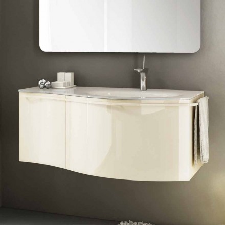 Modern hangende badkamermeubel met wastafel van beige gelakt hout Gioia 1