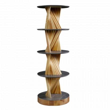 Luxe houten kast met ronde planken van aardewerk Made in Italy - Aspide