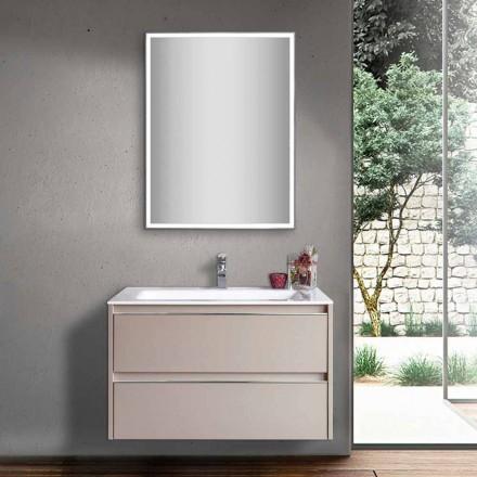 Duifgrijze badkamerwastafel in hout en mineraalmarmeren met LED-spiegel - Alfonso