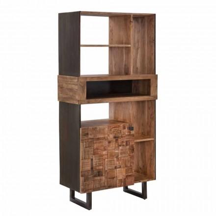 Design boekenkast in ijzer en acaciahout - Desdemona