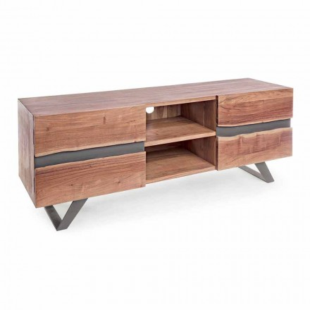 Homemotion TV-meubel van mangohout met metalen inzetstukken - Sonia