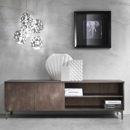 Modern tv-meubel twee deuren melamine hout gemaakt in Italië - Clemente