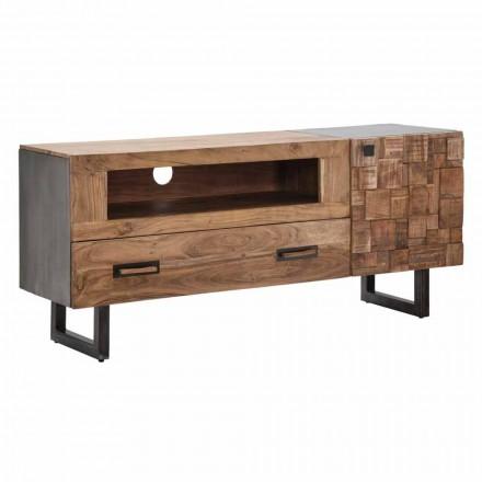 Moderne tv-meubel van ijzer en acaciahout met lade en deur - Deanna