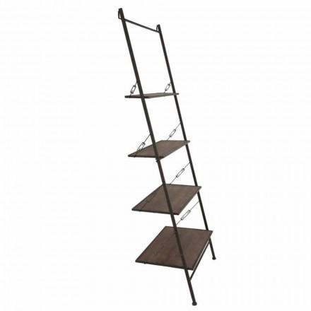 Ladderkast in moderne industriële stijl in hout en metaal - Denes