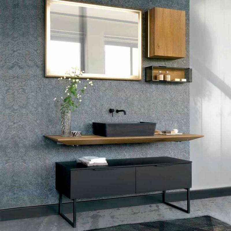 Luxe modern design badkamermeubels in natuurlijk hout en zwart - Alide