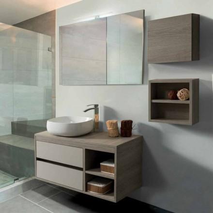 Badkamermeubel 100 cm, spiegel, wastafel en plank - Becky