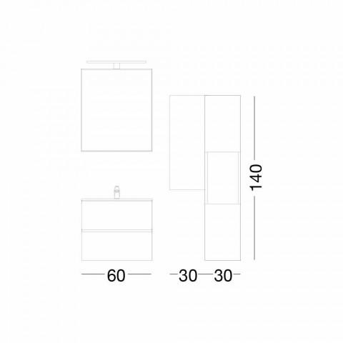 Hangend design badkamermeubel in melamine walnoot - Becky