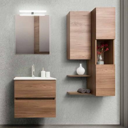 Badkamermeubel 60 cm, spiegel, wastafel en kolom - Becky